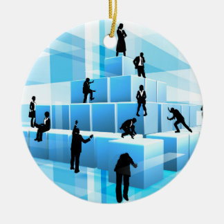 Silhouette Business Team People Building Blocks Round Ceramic Ornament