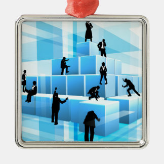 Silhouette Business Team People Building Blocks Silver-Colored Square Ornament