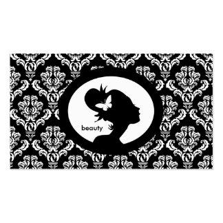 Silhouette BW de femme de papillon de carte de vis