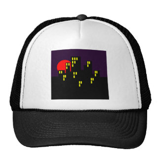 Silhouette city town center town trucker hat