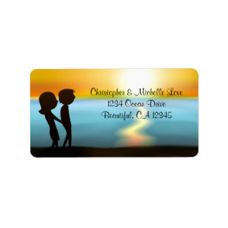 Silhouette Couple Sunset ~ Sunrise Beach Address Label