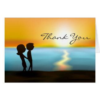Silhouette Couple Sunset ~ Sunrise Beach Thank You Card
