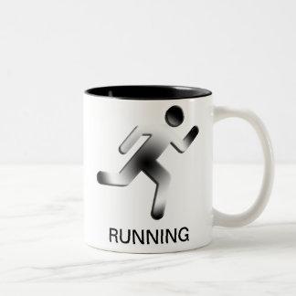 Silhouette courante d'homme mug bicolore