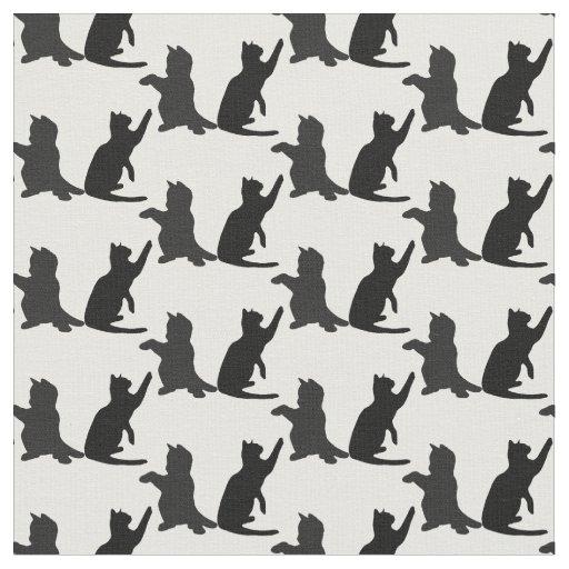 Silhouette Cute Kitten Cats Playing Fabric