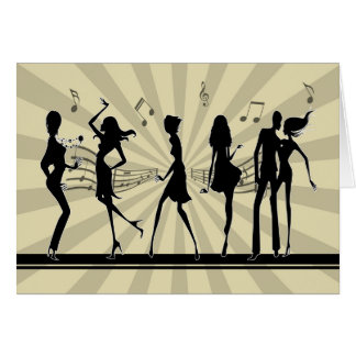 Silhouette Dancing Dancing Birthday Card