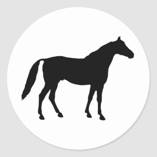 Silhouette de cheval autocollants ronds