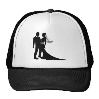 Silhouette de couples de mariage de jeunes mariés casquette de camionneur