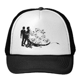 Silhouette de couples de mariage de jeunes mariés casquette