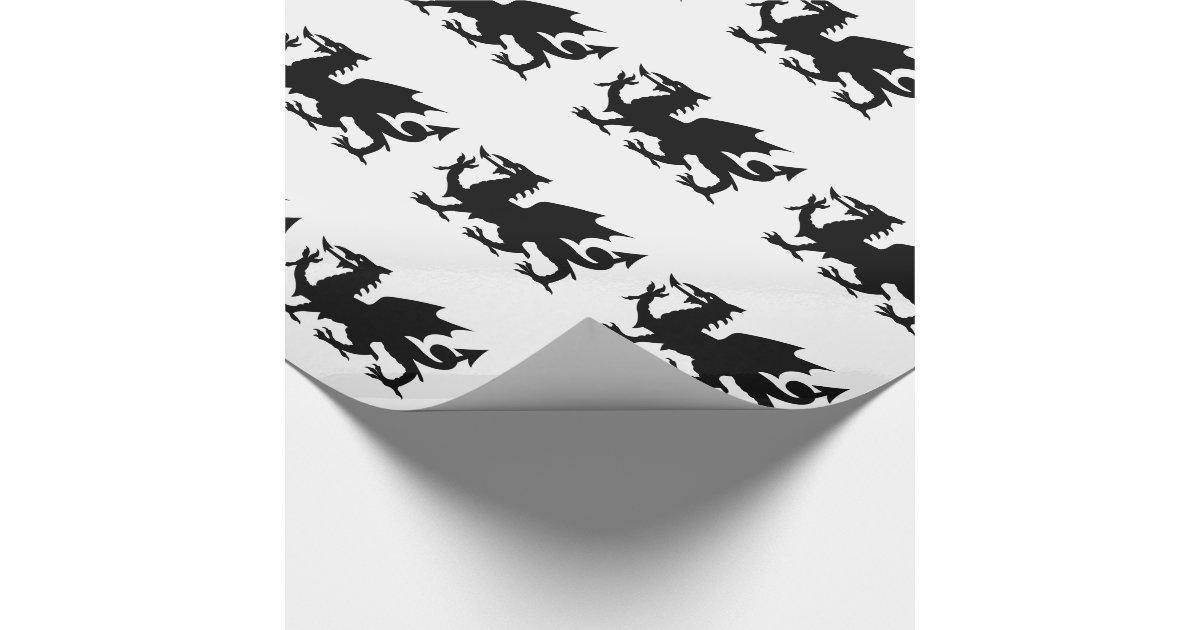 silhouette de dragon de gallois papier cadeau no l zazzle. Black Bedroom Furniture Sets. Home Design Ideas