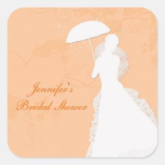 Silhouette de jeune mariée, coeurs oranges, sticker carré