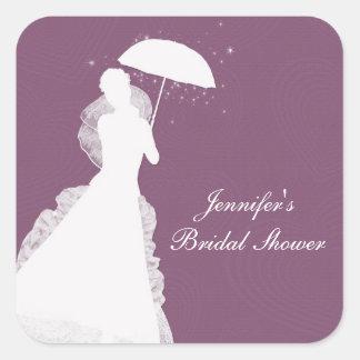 Silhouette de jeune mariée, coeurs pourpres, sticker carré
