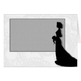 Silhouette de jeune mariée de carte de mariage