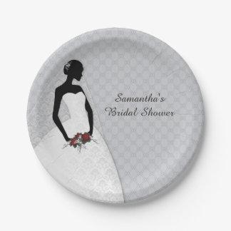 Silhouette de jeune mariée, grise assiette en papier 17,8 cm