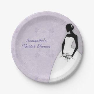 Silhouette de jeune mariée, lavande assiette en papier 17,8 cm