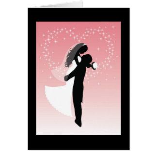 Silhouette de jeunes mariés carte de vœux