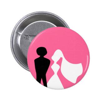 Silhouette de jeunes mariés épousant le Pin Macaron Rond 5 Cm