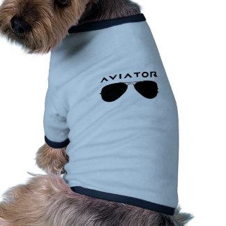 Silhouette de lunettes de soleil d'aviateur tee-shirt pour animal domestique