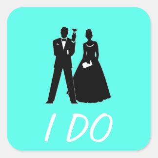 Silhouette de marié et de jeune mariée sticker carré