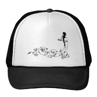 Silhouette de mode de mariage de jeune mariée casquettes