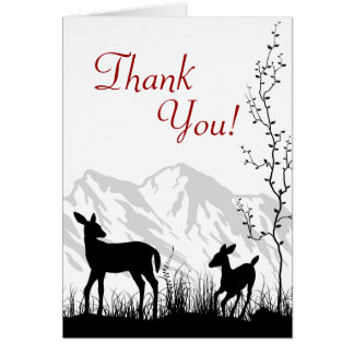 Silhouette Deer and Mountains Thank You Card