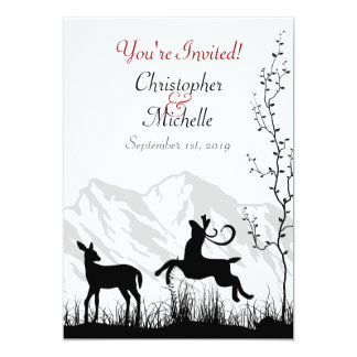 """Silhouette Deer and Mountains Wedding Invitaiton 5"""" X 7"""" Invitation Card"""