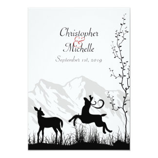 Silhouette Deer and Mountains Wedding Invitaiton 5x7 Paper Invitation Card