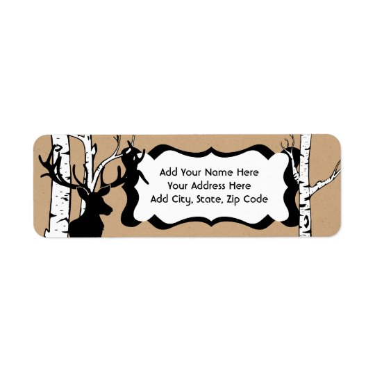 Silhouette Deer Birch Forest Address Labels