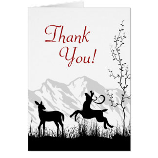 Silhouette Deer Couple Mountain Thank You Card