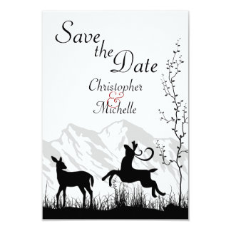 """Silhouette Deer Mountain Wedding Save the Date 3.5"""" X 5"""" Invitation Card"""