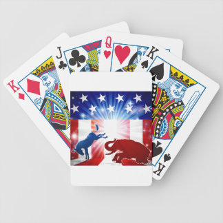Silhouette Donkey Fighting Elephant Bicycle Playing Cards