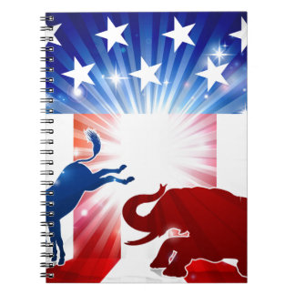 Silhouette Donkey Fighting Elephant Notebooks