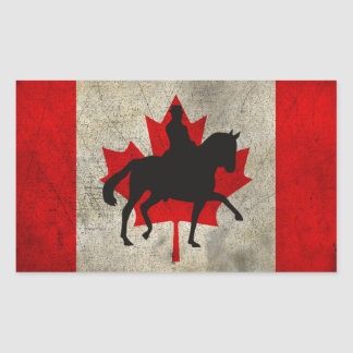 Silhouette Dressage Horse Canada Flag Stickers