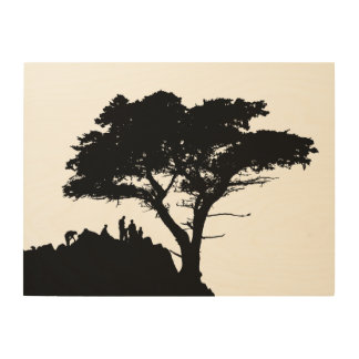 Silhouette Family Great Tree Vintage FAMILY TREE Wood Wall Art