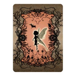 Silhouette féerique mignonne avec l'éclat carton d'invitation  13,97 cm x 19,05 cm