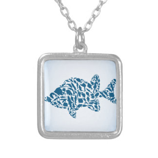 Silhouette fish silver plated necklace