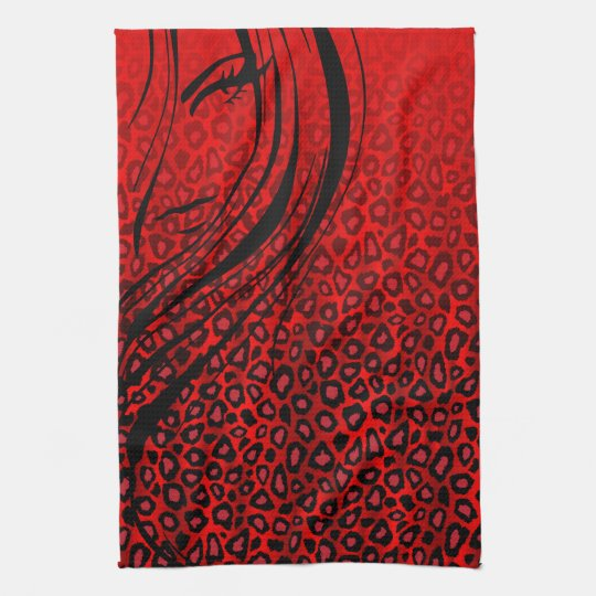 Silhouette Girl   Red Leopard Animal Print Kitchen Towel