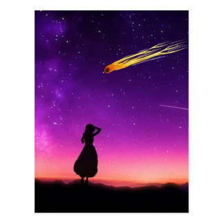 Silhouette Girl Watches Meteor Crash To Earth Postcard