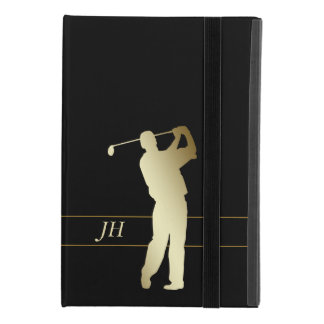 Silhouette Gold Golfer Monogram iPad Mini 4 Case