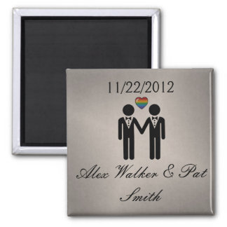 Silhouette Groom and Groom - Tall Square Magnet