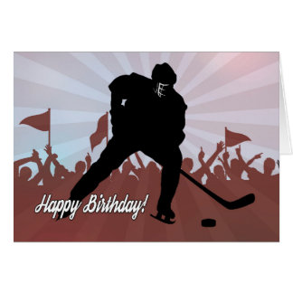 Silhouette Hockey Player for Birthday Greeting Card