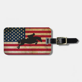 Silhouette Horse Jumping Patriotic USA Flag Luggage Tag
