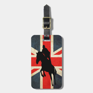 Silhouette Horse Jumping Union Jack Flag Tag For Bags