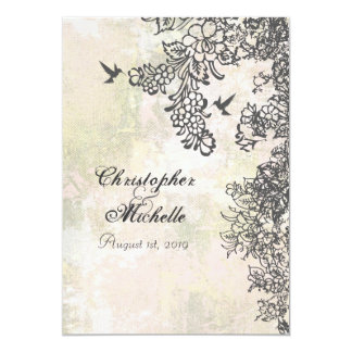 Silhouette Hummingbirds and Flowers Wedding Card