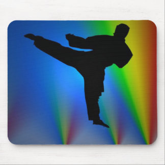 Silhouette karate man, mousepad