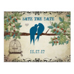 Silhouette Love Birds Bird Cage Tree Save the Date Post Cards