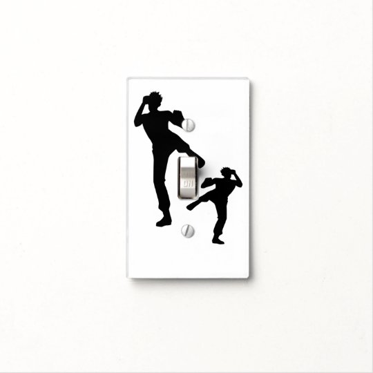 Silhouette Martial Arts Light Switch Cover