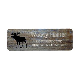 Silhouette masculine rustique d'orignaux de faune étiquette d'adresse retour