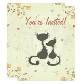 Silhouette Mom Cat and Kitten Baby Shower Invite