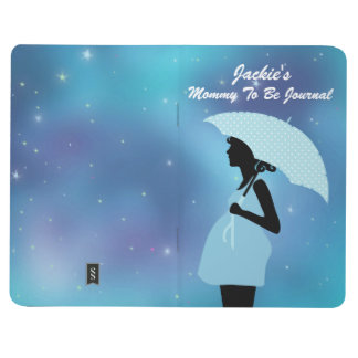 Silhouette Mommy To Be Blue Shower Umbrella Stars Journals