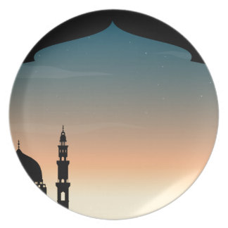 Silhouette mosque at twilight plate